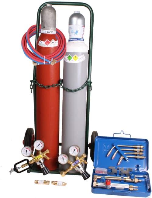 Autogenschweißgerät 10/10 komplett mit Flaschen Druckregler Brennerkasten Schlauch